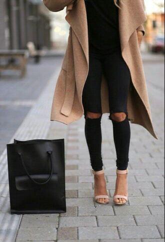 shoes coat black jeans black purse nude heels