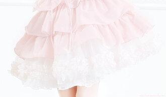 skirt lace pastel pink ruffle chiffon