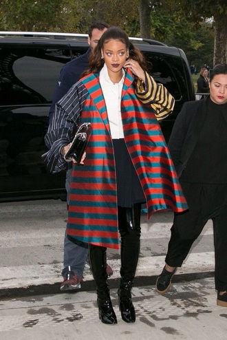 coat celebrity rihanna rihanna style style stylish fashion long coat colorful color/pattern stripes