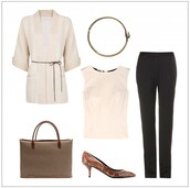 style by kling,jacket,belt,bag,shoes,pants,t-shirt,mid heel pumps