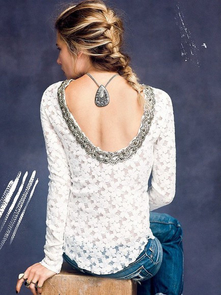 low back shirt blouse lace jewels