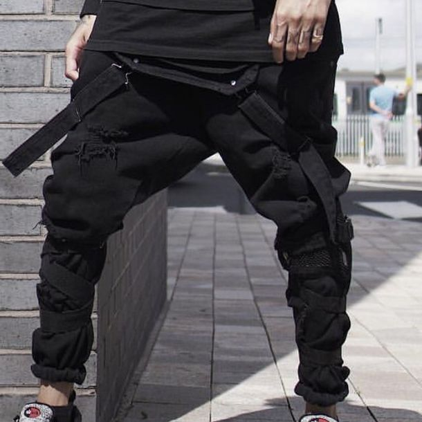 pants, techwear, scarlxrd, ripped, black, black overalls ...