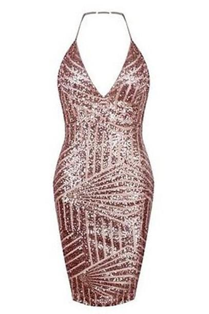 dress sequin dress halter top