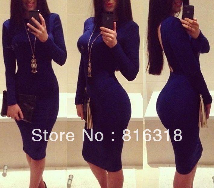 de fiesta 2014 Stunning Sexy Royal Blue Party Dress Long Sleeve ...