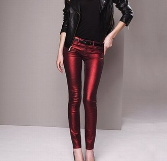 jeans red blue metallic pants tight leather pants leather 80s style shiny 90s style red pants