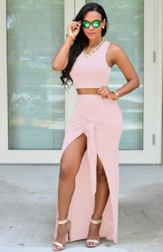 skirt maxi pink skirt sets chic sexy wots-hot-right-now 2 piece skirt set pink skirt maxi skirt baby pink sexy party dresses evening dress