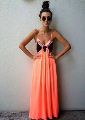dress neon coral dress maxi dress