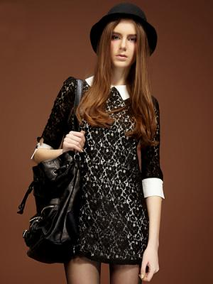All Over Lace Dress with Shirt Collar | Choies