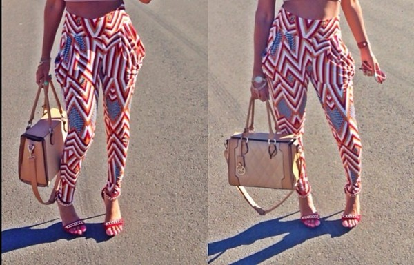 pants clothes harem harem pants high waisted zig zag print cute outfits beige