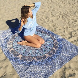 sweater blue comfy summer california californication blue sweater long sleeves beach summer outfits