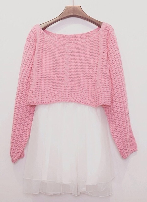 Sweater: cropped sweater, pink, knitwear, winter sweater, pastel ...
