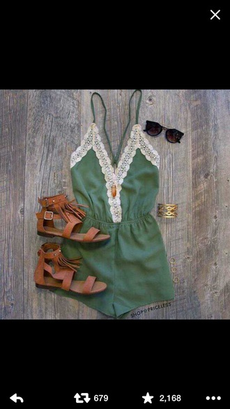 romper emerald green white lace v kneck short