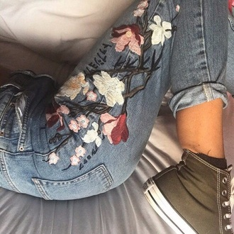 jeans floral embroidered denim high waisted rose