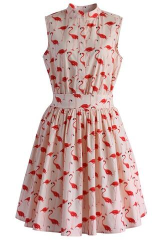 dress flamingo fun flare print dress chicwish flare dress printed dress
