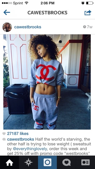 sweater chanel chanel inspired grey t-shirt gray hoodie red cute cute sweaters pants shirt