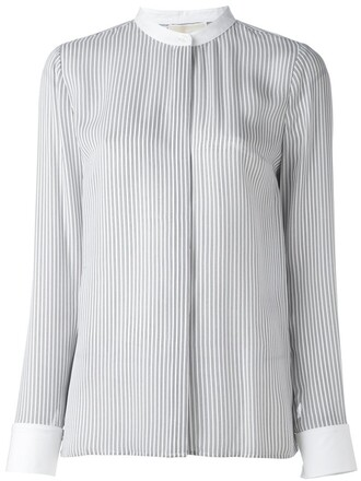 shirt collar shirt women white silk top