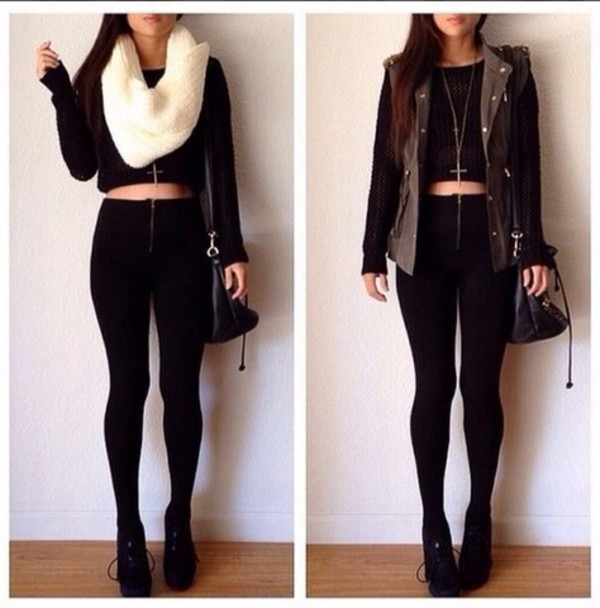 blouse black sweater sweater jaket jeans scarf jacket shirt crop tops high waisted jeans bag high heels