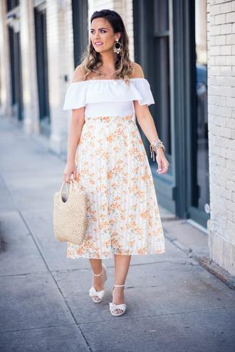 skirt pleated skirt floral printed skirt sandals ruffled top midi skirt off the shoulder top basket bag earrings