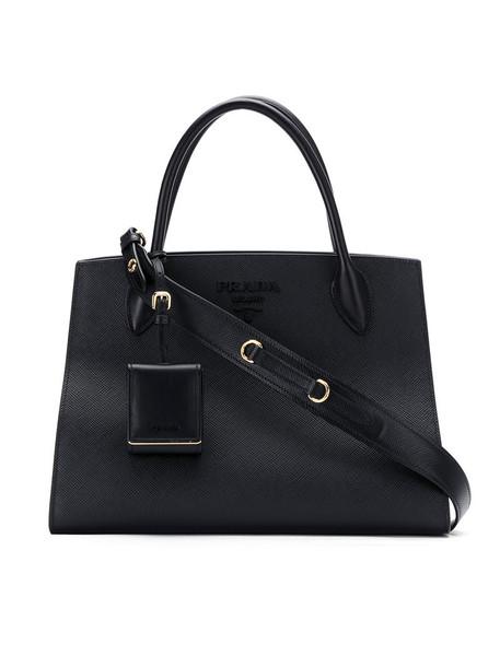 Prada - Monochrome tote - women - Calf Leather - One Size, Black, Calf Leather