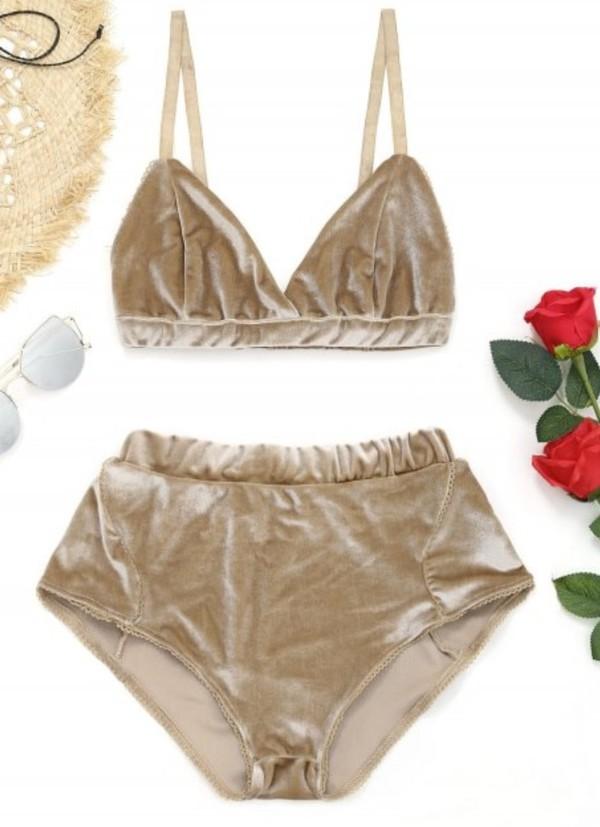 underwear girly two-piece matching set shorts gold velvet bralette