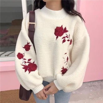 sweater off-white rose baggy aesthetic rose embroidered ulzzang