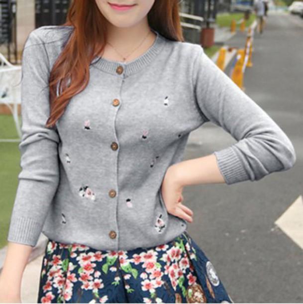 Cardigan Cute Fashion Grey Style Korean Fashion Fall