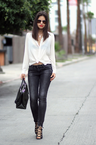 fake leather blouse jeans shoes bag jewels make-up