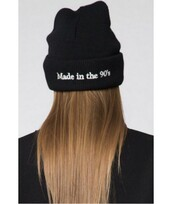 hat,beanie,cool,grunge,trendy,fashion,BORN IN THE 90'S BEANIE,style,winter outfits,black,it girl shop,90s style,all black everything