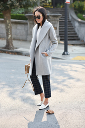 coat,grey coat,tumblr,pants,checkered pants,shoes,loafers,white loafers,sunglasses,office outfits