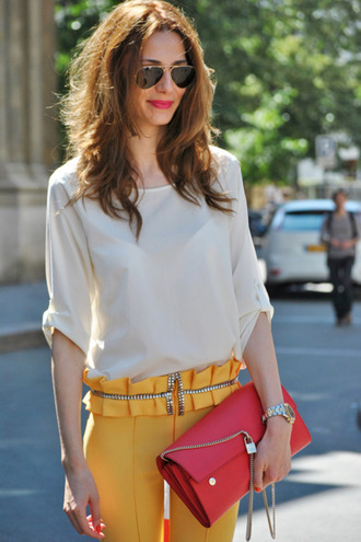 pants yellow pants top white top spring outfits bag red bag clutch watch sunglasses aviator sunglasses office outfits brunette preppy