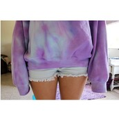 sweater,tie dye,purple,blue,white,yellow,pink