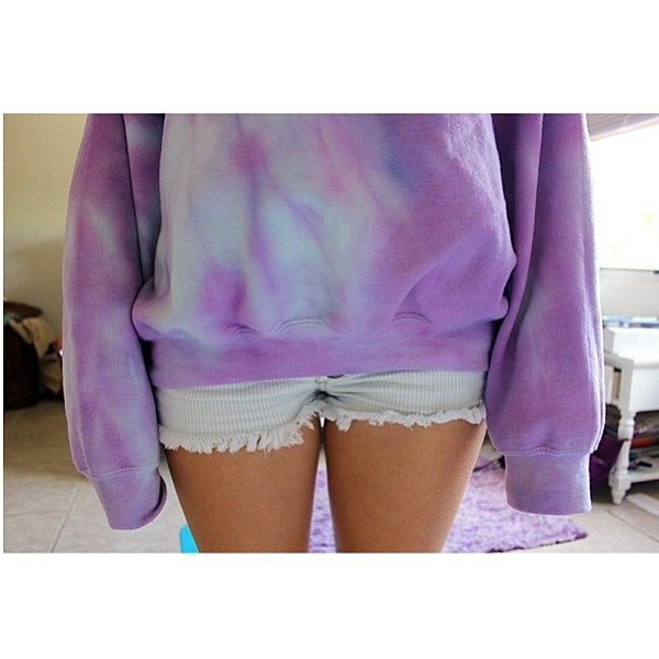 sweater tie dye purple blue white yellow pink