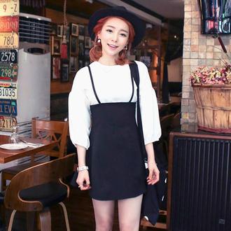 top suspenders skirt with suspenders korean fashion korean style korean skirt black mini skirt black tight skirt xl xxl asian fashion ulzzang ulzzang style
