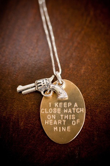 jewels gun necklace heart cute gold chain chain quote on it statement necklace