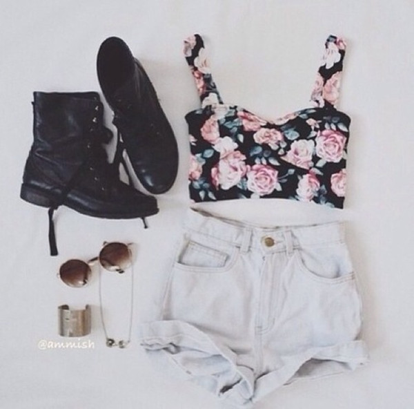 tank top top shorts shoes sunglasses floral bustier crop tops summer outfits cute High waisted shorts