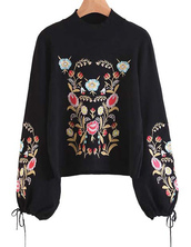 sweater,cute,sweet,brenda-shop,pullover,sweatshirt,floral,flowers,embroidered,rose,rose embroidered,black,winter outfits