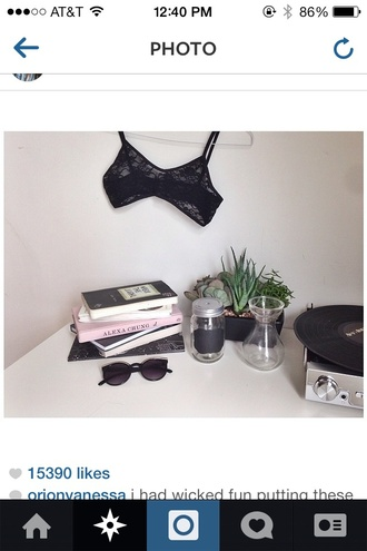 underwear black lace bralet