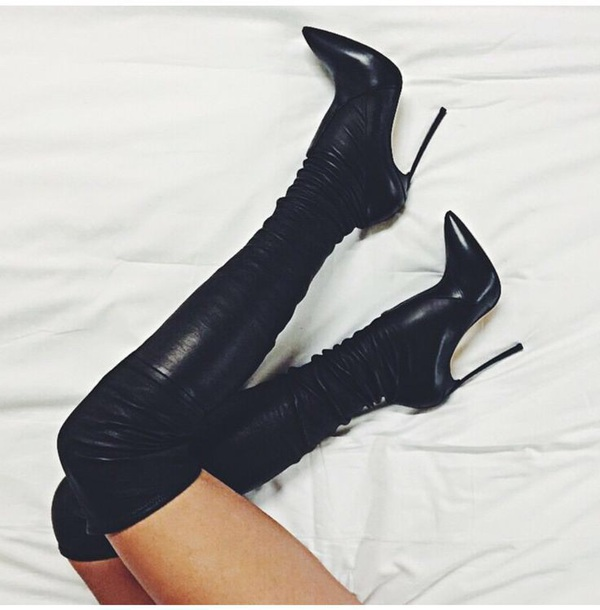 shoes black boots thigh high boots