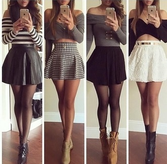 skirt crop tops shoes top underwear blouse clothes striped crop top style skirts and tops lace skirt classy black crop top white skirt black skirt striped shirt grey sweater heel boots skirtandtop boots shirt these outfits bag outfit cute stylish fall outfits high heels t-shirt grey skirt