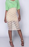 Tan iammi lace high waist midi skirt