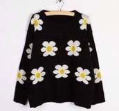 sweater,daisy sweater,knitted sweater,casual sweater,black sweater