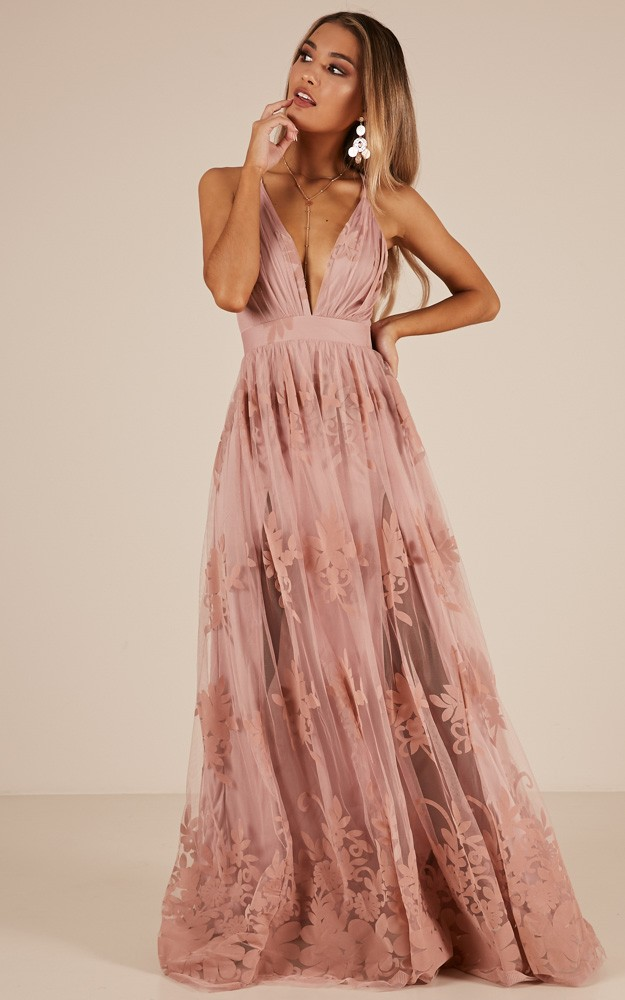 7bce2c9730 Promenade maxi dress in blush Produced By SHOWPO