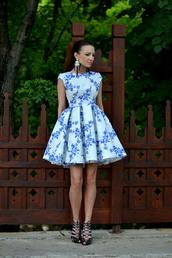 my silk fairytale,blogger,dress,floral dress,skater dress,strappy heels,earrings