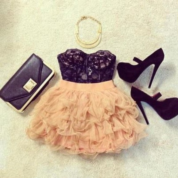 skirt fashion pink shoes blouse bag dress shirt pastel pink and black dress frilly dress high heals necklace gold necklace