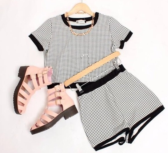 t-shirt shorts checkered shorts with matching crop top shoes
