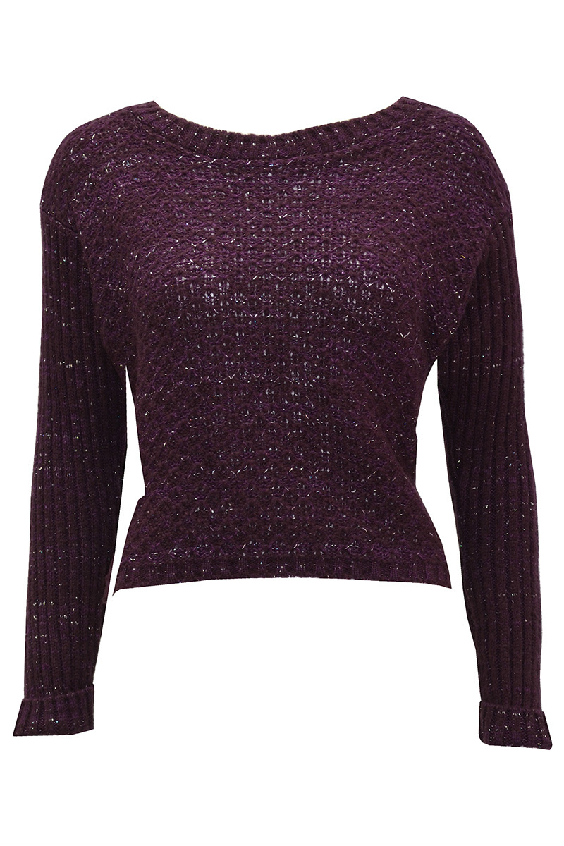Jemsa Short Knitted Jumper In Purple