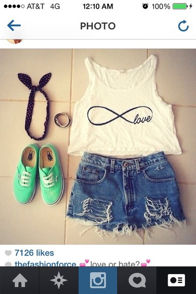 teal mint shoes shirt infinity white black keds tanktop love tanktop jeans shorts ripped jeans ripped denim shorts denim headband hair band hat
