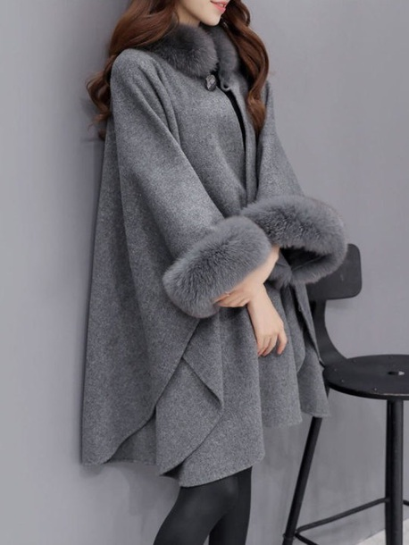 jacket grey fur cuffs collar