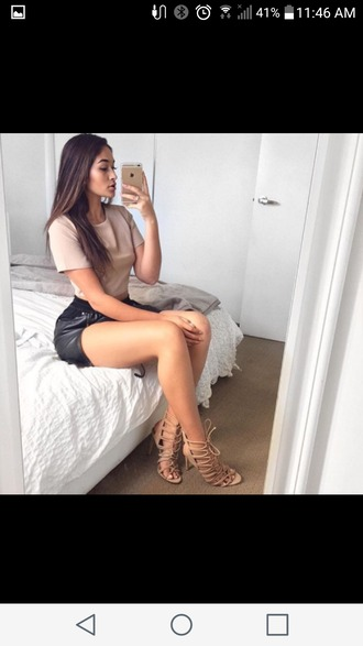 shorts leather shorts calm outfit summer outfits tan crop top outfit leather shorts outfit lace up heels pin straight hair outfit glamour urban outfit ladies summer outfit