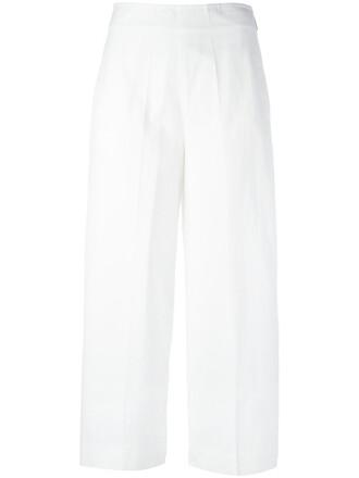 cropped women white cotton pants